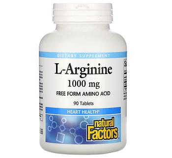 Natural Factors, L-аргинин, 1,000 мг, 90 таблеток