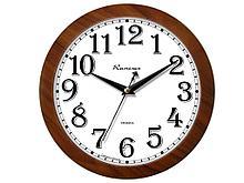 """Часы настенные Камелия """"Орех золотой"""", круглые, 29х29х3,5, коричневая рамка"""