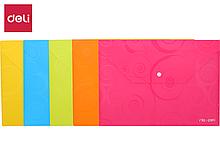 "Папка-конверт на кнопке DELI, А4, 0,18 мм, ""узор"", ассорти"