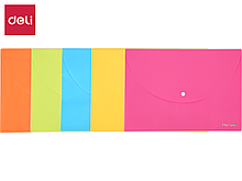 Папка-конверт на кнопке DELI, А4, 0,18 мм., ассорти