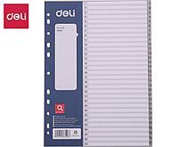 Разделитель пластиковый DELI, А4, 31 лист, серый