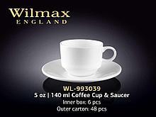 "Чашка кофейная + блюдце ""Wilmax"", 140 мл, фарфор, белая"
