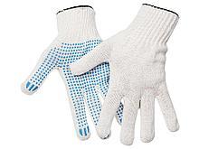 Перчатки х/б OfficeClean, стандарт,с точечным ПВХ-покрытием,4 нитки, белые