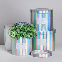 Набор шляпных коробок для цветов 4 в 1 с голографией 'С любовью', 14 x 13 см - 20 x 17,5 см