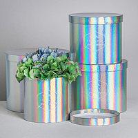 Набор шляпных коробок для цветов 4 в 1 с голографией 'Только для тебя', 14 x 13 см - 20 x 17,5 см