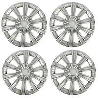 Колпаки колесные R15 'ТОРНАДО', серебристый карбон, набор 4 шт