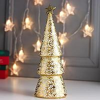 Сувенир полистоун 'Золотая ёлочка цветочная, со звёздочкой' 31,5х11х11,5 см