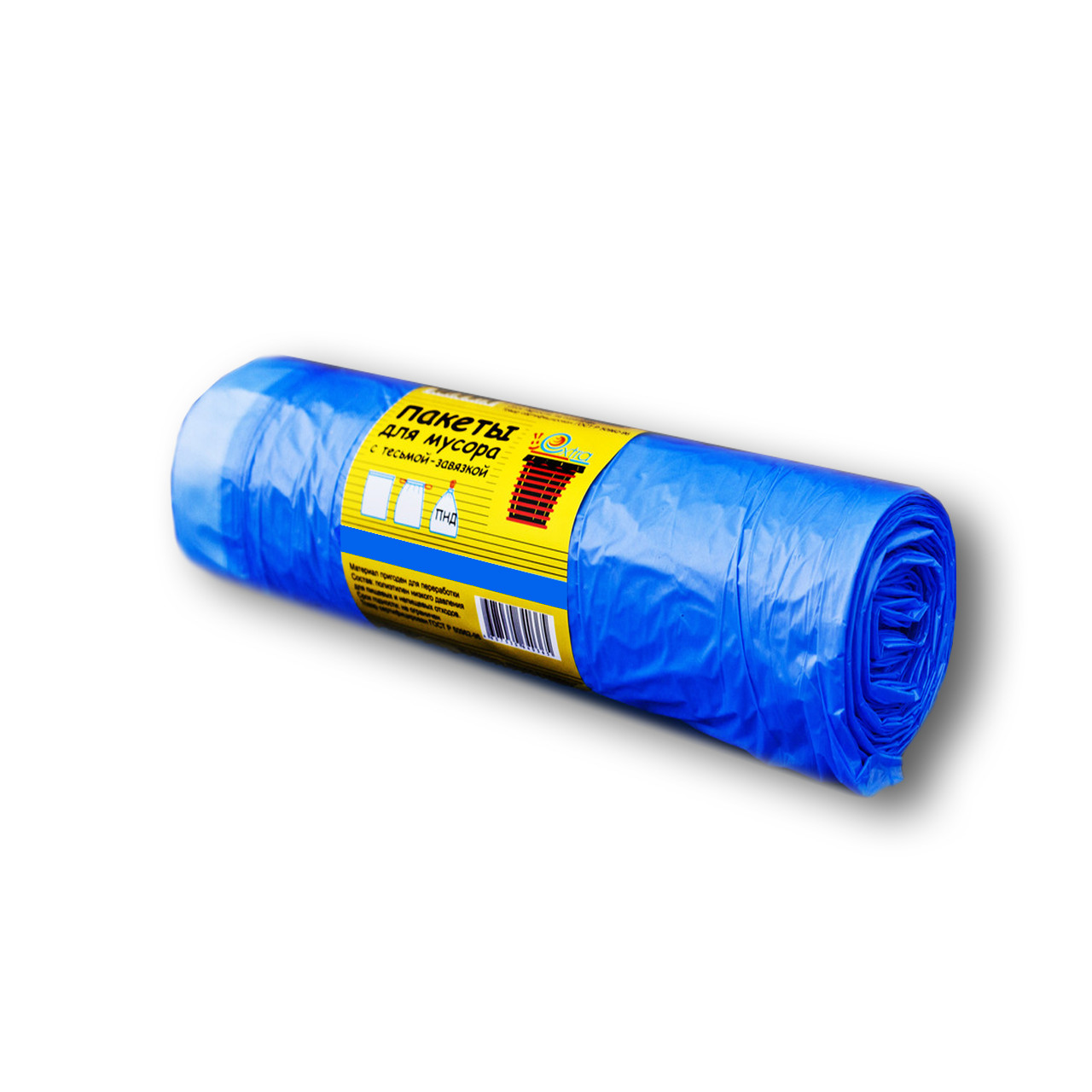 Пакет для мусора ПНД с завязками 60*80, 60л EXTRA (30шт в рулоне)