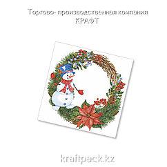 "Салфетки ""Венок со снеговиком"" 33*33 (20 шт/уп - 12 уп/кор)"