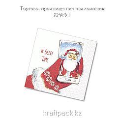 "Салфетки ""Селфи Деда Мороза"" 33*33 (20 шт/уп - 12 уп/кор)"
