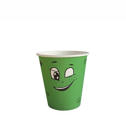 """Стакан бумажный для горячих/холодных напитков """"Emoji ЗЕЛЕНЫЙ"""" 250 мл (8 OZ / D80) (50/1000)"""