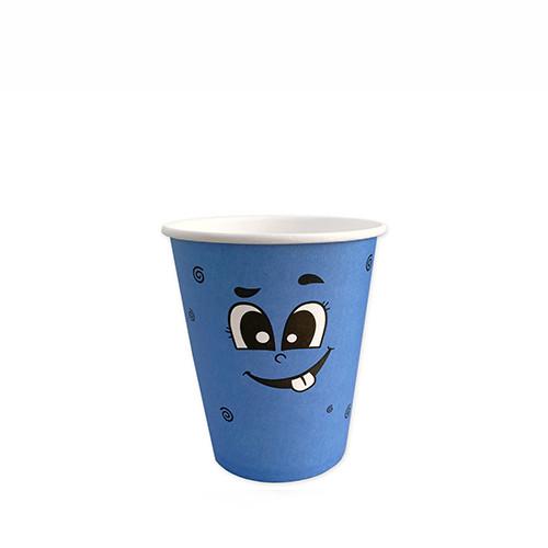 """Стакан бумажный для горячих/холодных напитков """"Emoji Голубые"""" 250 мл (8 OZ / D80) (50/1000)"""