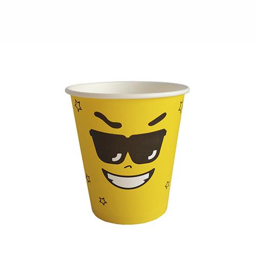 """Стакан бумажный для горячих/холодных напитков  """"Emoji ЖЕЛТЫЙ"""" 350мл (12 OZ / D90) (50/1000)"""