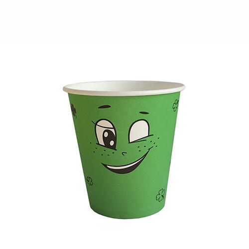 """Стакан бумажный для горячих/холодных напитков  """"Emoji ЗЕЛЕНЫЙ"""" 350мл (12 OZ / D90) (50/1000)"""
