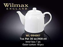 "Чайник заварочный ""Wilmax"", 900 мл, фарфор, белый"
