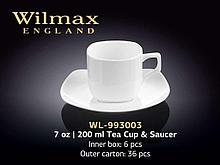 "Чашка чайная + блюдце ""Wilmax"", 200 мл, фарфор, белая"