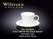 "Чашка чайная + блюдце ""Wilmax"", 180 мл, фарфор, белая"