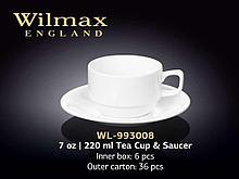 "Чашка чайная + блюдце ""Wilmax"", 220 мл, фарфор, белая"