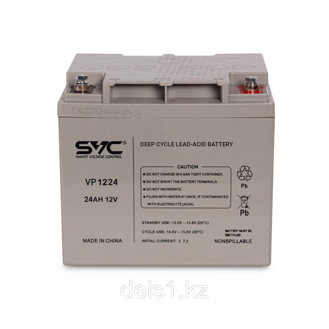 Батарея, SVC, Свинцово-кислотная VP1224 12В 24 Ач, Размер в мм.: 165*125*175