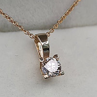 Золотой кулон с бриллиантом 0.25Ct SI2/L, VG-Cut  Цепочка 45cм, фото 1