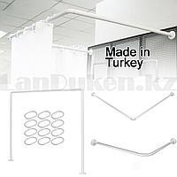Карниз для ванной комнаты универсальный металлический 90х90х90 см белый