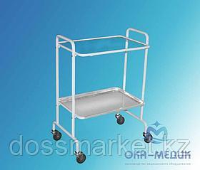 Столик инструментальный СМи-5 (полки: стекло-нерж. сталь, колеса мебельные)