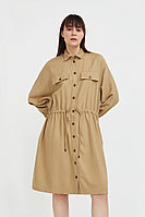 Льняное платье-рубашка Finn Flare, цвет бежевый, размер S