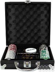 Набор из 100 фишек для покера с номиналом в черном кейсе