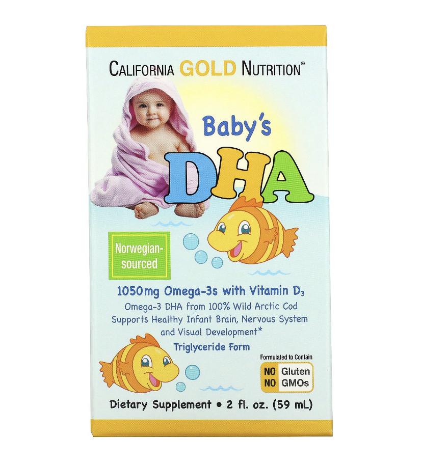 ОМЕГА-3, ДГК для детей, омега-3 с витамином D3, 1050 мг, 59 мл (2 жидк. унции)