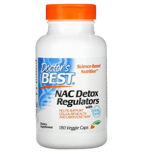 Doctor's Best, N-ацетилцистеин (NAC) для регуляции процесса детоксикации, 180 растительных капсул