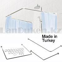 Карниз для ванной комнаты универсальный металлический 90х90х90 см хромированный