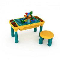 Многофункциональный столик-песочница 3в1 со стулом и конструктором Желто-зеленый