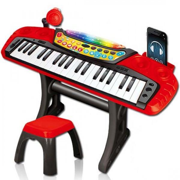 Детский синтезатор с микрофоном на подставке, пианино на подставке со стульчиком