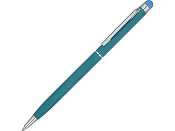 Ручка-стилус шариковая Jucy Soft с покрытием soft touch, бирюзовый