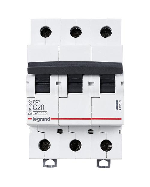 Legrand 419709 RX3 Авт.выключатель 4,5кА 20А 3П C /  419709