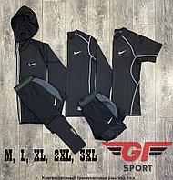 Рашгард (компрессионное белье) Nike 5в1, черный комбинированный серый шев