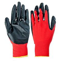 Перчатки рабочие нейлоновые с нитриловым покрытием красно черные