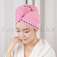 Полотенце для сушки волос банное тюрбан из микрофибры с пуговицей светло-розовое
