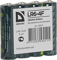 Элемент питания LR6 AA Defender Alkaline LR6-4F - 4штуки в пленке