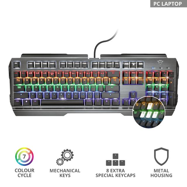 Клавиатура игровая Trust RU GXT 877 Scarr Mechanical черный