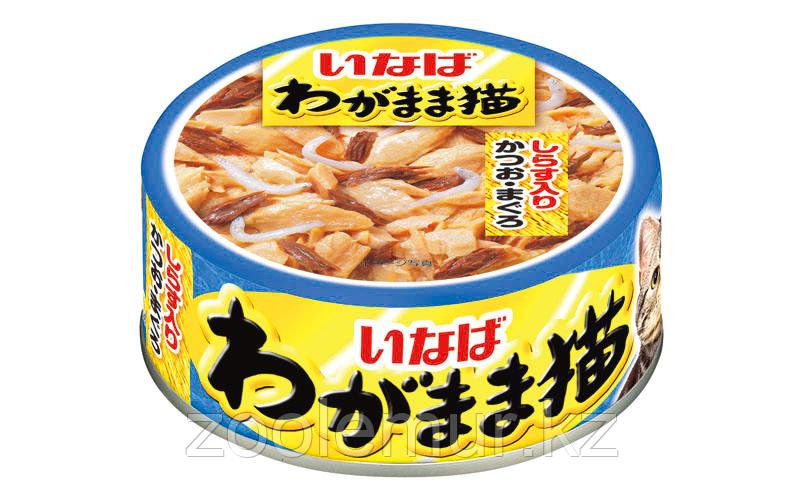 INABA WAGAMAMA для капризных кошек Японский тунец с сардиной в желе, 115гр