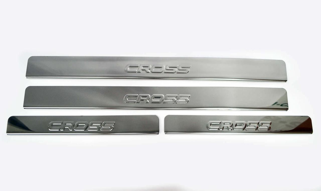 Накладки внутренних порогов DOLLEX NPS087 Lada Vesta SW штамп Cross