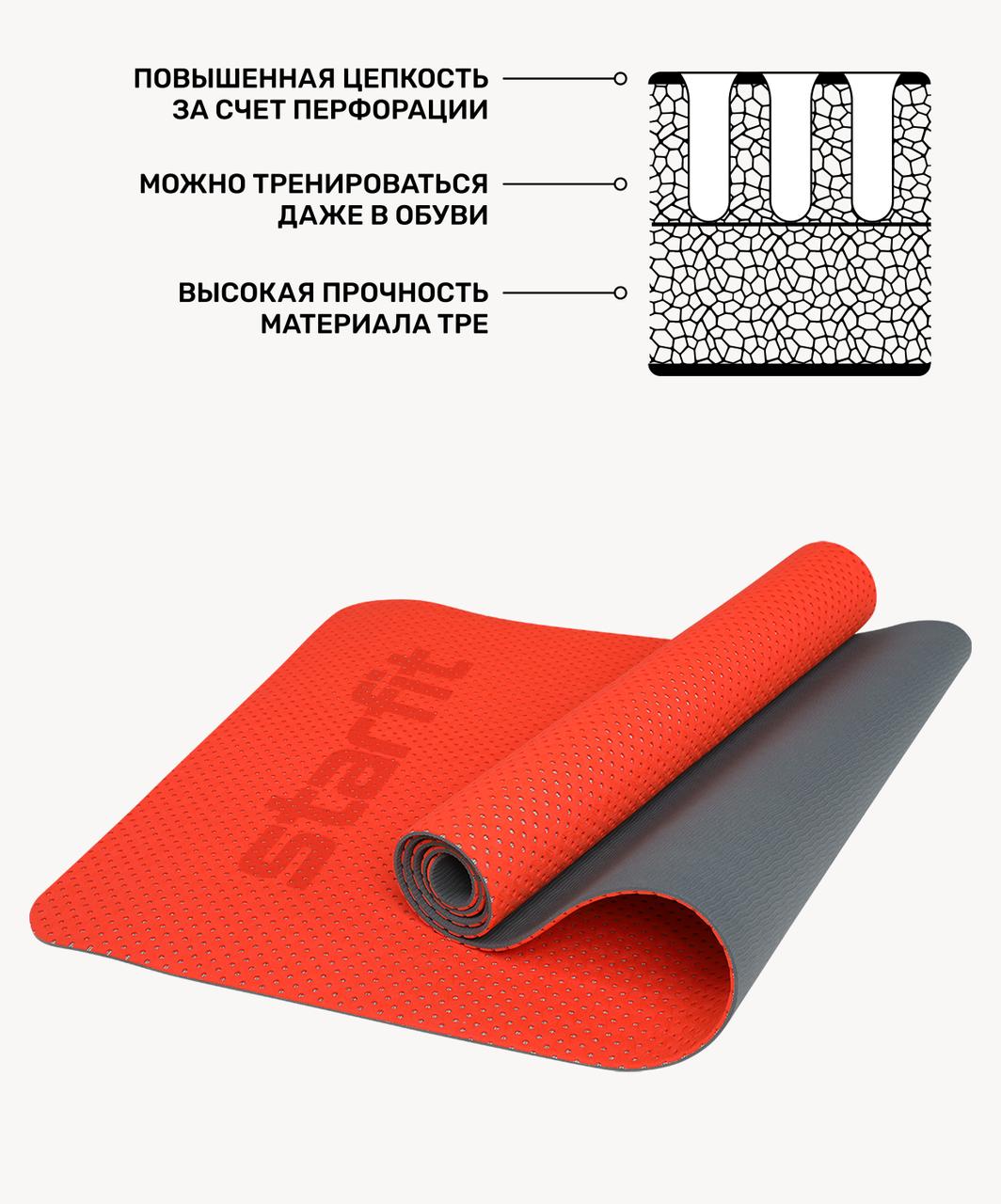 Коврик для фитнеса FM-202, TPE перфорированный, 173 x 61 x 0,5 см, ярко-красный Starfit