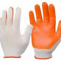 Перчатки рабочие бело - оранжевые х/б ПВХ