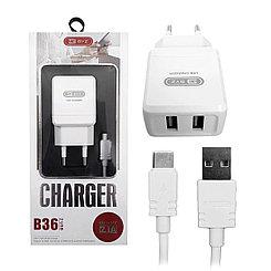Сетевое зарядное устройство BYZ B36 2 USB с кабелем Typ-C 2.1A, White
