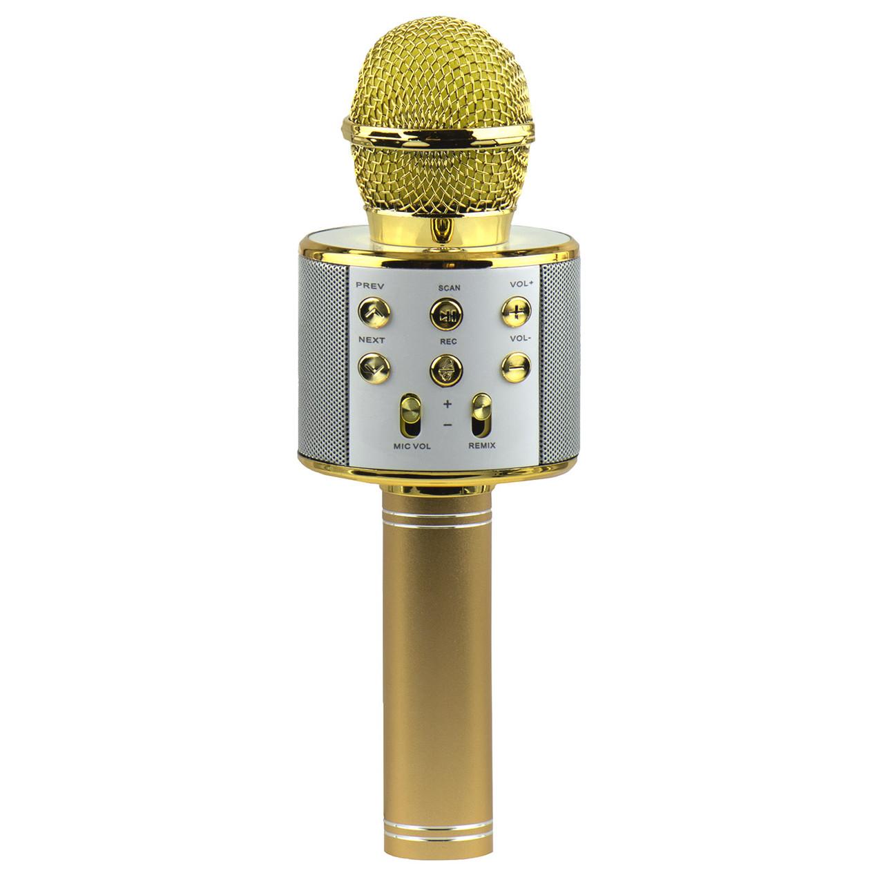 Микрофон караоке Bluetooth WSIR WS-858 FM Radio Gold