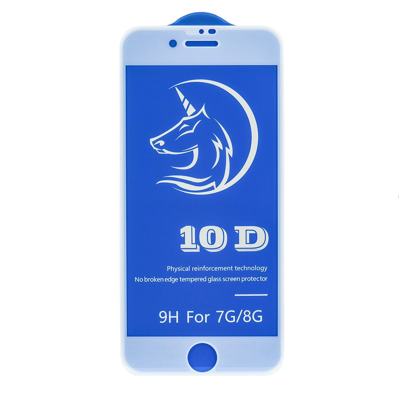 Защитное стекло Apple iPhone 7/ iPhone 8 3D Full Glue frame 10D+ OEM (AL), White