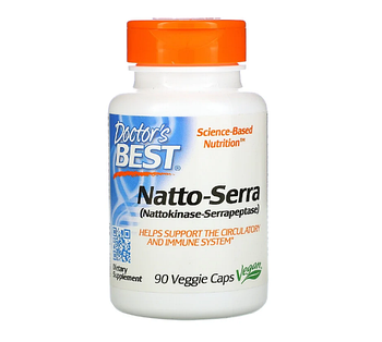 Doctor's Best, Natto-Serra, 90 капсул в растительной оболочке