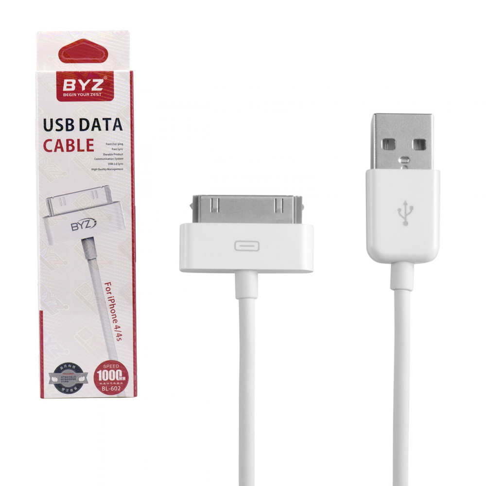 Кабель Apple iPhone 4S/iPad2/3 BYZ BL-602 1m White