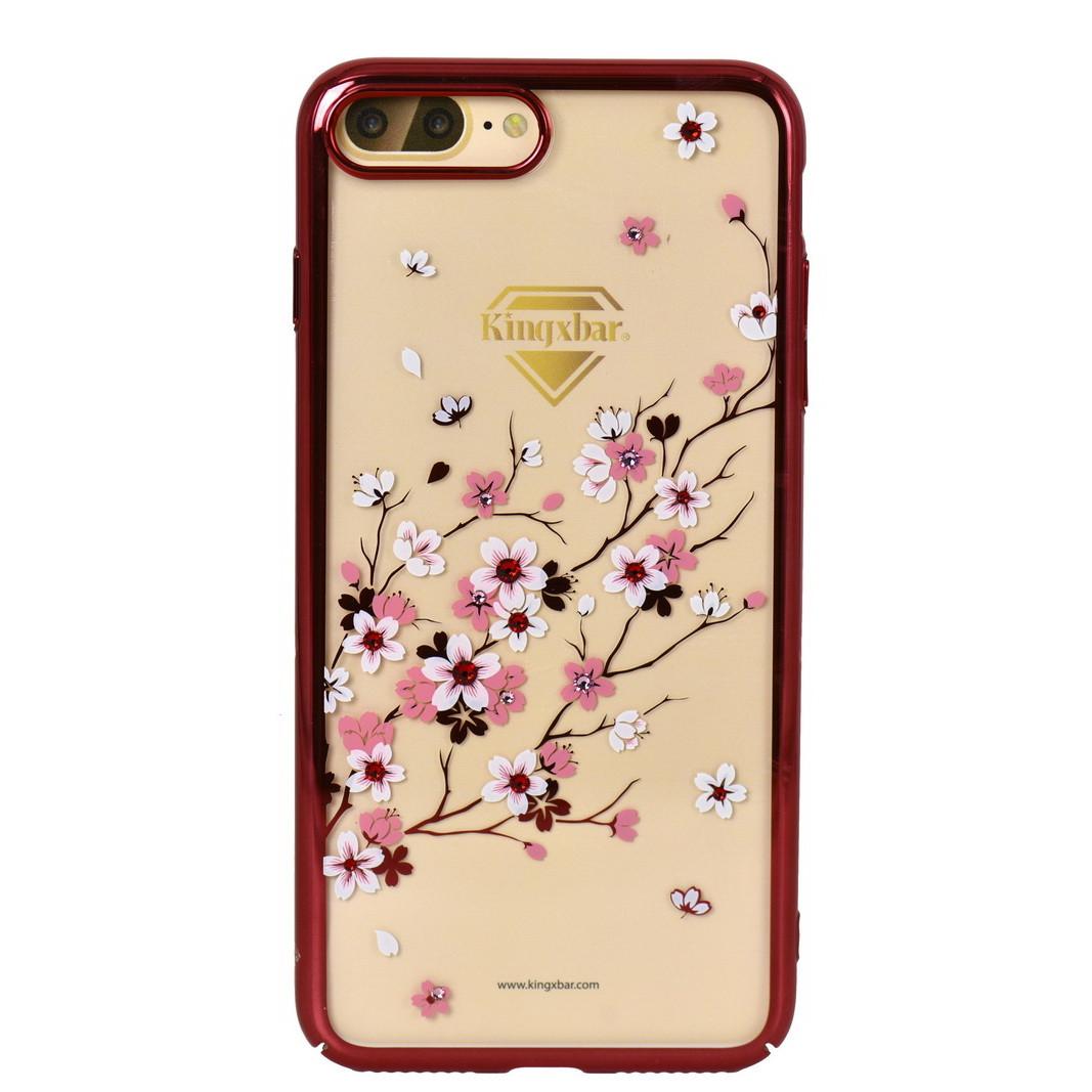 Чехол для Apple iPhone 7 Plus back cover Kingxbar Sakura Swarovski elements plastic 23F Red Frame
